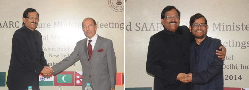 India's Minister of Culture with his counterpart from Afghanistan, Dr. S N Raheen & from Bangladesh, Mr. Asad Ud Zaman Noor