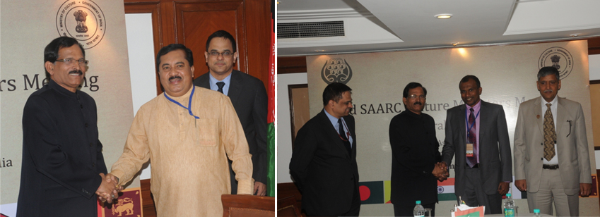 India's Minister of Culture with his Sri Lankan counterpart, Mr. T B Ekanayake & Permanent Secretary from The Maldives