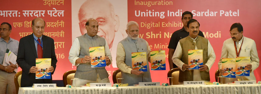 The Prime Minister, Shri Narendra Modi releasing the Ek Bharat Shreshtha Bharat booklet at the inaug...