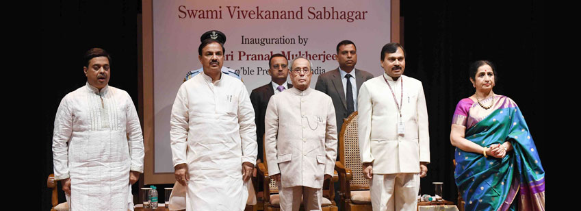 The President, Shri Pranab Mukherjee at the inauguration of the Swami Vivekananda Sabhagar at Kathak...