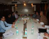 The Culture Minister of India and senior officials from Bhutan's cultural ministry, holding a bilateral meeting at The Ashok hotel in Delhi today.