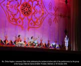 Ms. Smita Nagdev, renowned Sitar Artist addressing the audience before start of the performance by the group at the Kyrgyz National Opera & Ballet Threatre, Bishkek on 10 October 2016.