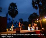 Siem Reap 14 January 2017: Spectacular Ramayana performance with Bayon Temple in   background