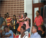 Students at the University of Dar es salaam celebrating the music dance performed by the Alobo Naga and the Band
